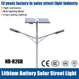 luz de la calle 40W LED de los 7m con el panel solar y la batería de Lithuim