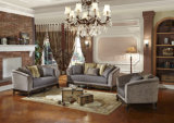 Klassisches Wohnzimmer-Couch-Antike-Gewebe-Sofa mit hölzerner geschnitzter Unterseite