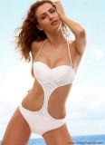 Weiße Farben-einteilige Bikini-Badebekleidung