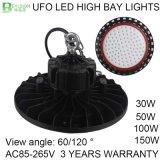 luz de la bahía del UFO LED de 30W 50W 100W 150W alta