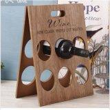 Décor pliable en bois ordinaire de maison d'étagère de support de crémaillère de bouteille de vin de crémaillère de vin