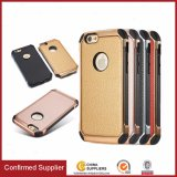 Electroplate Metal Texture PU Leather Back Case Cover para iPhone 6
