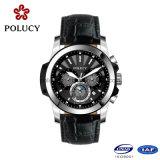 OEM van de Fabrikanten van China de Horloges van het Leer van de Mensen van de Chronograaf