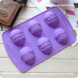 6 moulages colorés de crêpe de silicones d'oeufs de Noël avec 26.5*16.5*2.5cm