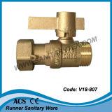 Vávula de bola bloqueable de cobre amarillo para el contador del agua (V18-801)