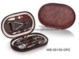 Reeks van de Manicure van de Ritssluiting van het Leer van de Uitrusting van de Pedicure van de Vorm van het Hart van de bevordering de Rode