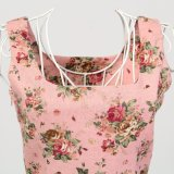 Retro Weinlese-Blumenleinengewebe Boho Art-Sleeveless Dame-Kleid