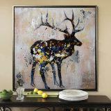 ハンドメイドのホーム商品のオオシカの動物の壁のバックラムの油絵