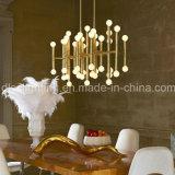 Lâmpada interna do pendente do Matchstick da iluminação do candelabro creativo europeu do ferro do ouro do projeto