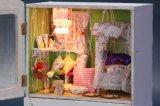 Casa de boneca de madeira quente da caixa de música do brinquedo da venda DIY