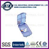 Fabricante plástico en forma de corazón del envase de la píldora con el Keyring del metal