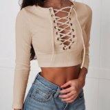 Ladies Fashion Knitting Top Stripe Slim Bandage Blusa