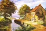 Модель картины маслом пейзажа городка свободно картины разума свободно мирная маленькая: No Hx-4-017