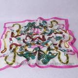 Retro Silk nachgemachter quadratischer Schal im Polyester-Satin (H16)