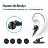 na orelha Earbuds com os auscultadores prendidos Mic Earbuds preto