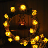 La chaîne de caractères solaire de fleur de 50 DEL Rose allume les lumières décoratives de jardin de Noël extérieur féerique imperméable à l'eau de mariage
