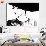 흑백 여자 초상화 벽 장식