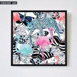 Knall-Kunst-Tier-Flamingo-Leopard-Abbildung-Basisrecheneinheits-Segeltuch-Druck