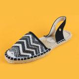 Dame-beiläufige Knöchel-Verpackungs-weiße und schwarze Streifen-Sandelholz-Espadrilles