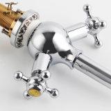 Misturador dobro intemporal luxuoso antigo da bacia de mão (Zf-M33)