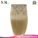 Light Blond Remy Hair Clip in / on Extensions 100% cabelo loiro loiro