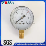 Medidores de pressão comerciais DIN Steel com conector de latão 2 polegadas 2,5 polegadas de diâmetro 6 bar de pressão