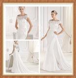 Robe de mariage élégante de sirène de longue queue de décoration de lacet de bateau