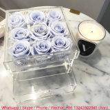 Cadre en plastique acrylique clair romantique de luxe de fleur de Rose