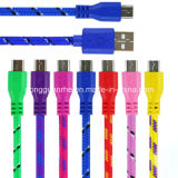 USB redondo Cable de Nylon Braided Charging e de Data para Microusb