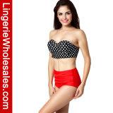 Reizvolle zweiteilige Hohe-Waisted Polka PUNKT Underwire Bikini-Oberseite-Badebekleidung