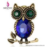 2017新しいデザインレトロのフクロウの動物の宝石類のガラス水晶ブローチ