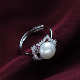 여보세요 공동 자금 고양이는 925 순은 디자인 자연적인 민물 경작한 실제적인 진주 반지를 형성했다