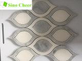 Плитка формы листьев белая и серая мраморный мозаики