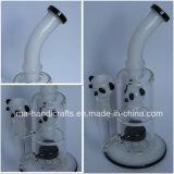 Verbogener Stutzen-rauchendes Wasser-Glasrohr mit Panda