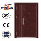 木製のブラウンカラー大きいサイズの鋼鉄機密保護の鉄のドア(W-SZ-02)