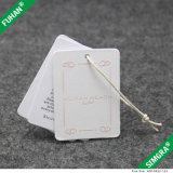 Tag grossos do cair do cartão do Livro Branco para vestuários