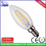 E14/E27 2W LED 필라멘트 백열 전구