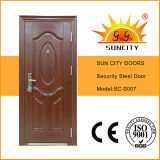 Porte en acier de chambre à coucher de conception en acier de porte principale (SC-S007)