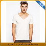 T-shirt 100% bon marché de collet du blanc V de bonne qualité de coton