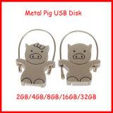 USB Pendrive del mecanismo impulsor del flash del USB del metal de la memoria del USB del cerdo de la historieta