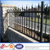 Cercas fortes pretas do ferro do jardim com porta