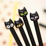 Papeterie en plastique de Coréen de crayon lecteur de gel de chat noir de dessin animé mignon