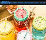 De gekleurde Kop van het Flessenglas van het Sap Met Deksel en Handvat