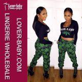 Les filles deux morceaux impriment les vêtements sport de salopettes vertes de feuille (L27738)