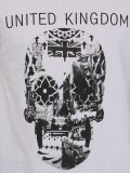 T-shirt noir et blanc d'hommes de coton de mode de vente en gros d'impression de modèle de crâne