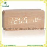 Будильник таблицы деревянный для часов индикации СИД температуры гостиницы