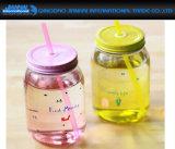 ふたおよびハンドルが付いている着色されたジュースの記憶の瓶ガラスのコップ