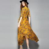 형식 벨트를 가진 꽃 발적 소매 여자 맥시 복장