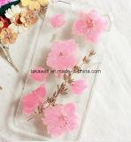 Изготовленный на заказ случаи сотового телефона эпоксидной смолы доказательства скреста доказательства удара с отжатыми цветком и листьями в iPhone/случай Samsung