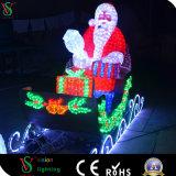 Diodo emissor de luz ao ar livre Papai Noel do jardim com Natal do carro do cavalo de Reindee